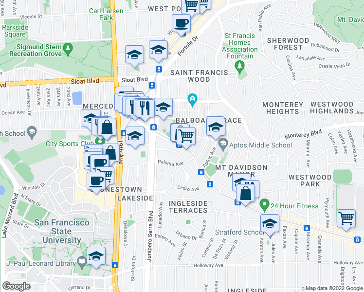 map of restaurants, bars, coffee shops, grocery stores, and more near Ocean Avenue & San Leandro Way in San Francisco