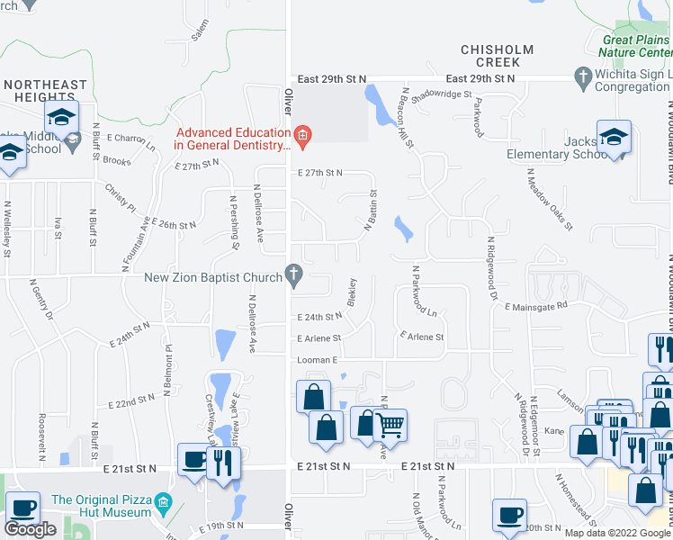 map of restaurants, bars, coffee shops, grocery stores, and more near 4929 East Pembrook Court in Wichita