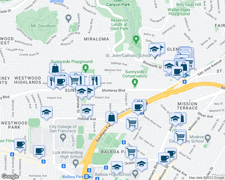 map of restaurants, bars, coffee shops, grocery stores, and more near Monterey Blvd in San Francisco