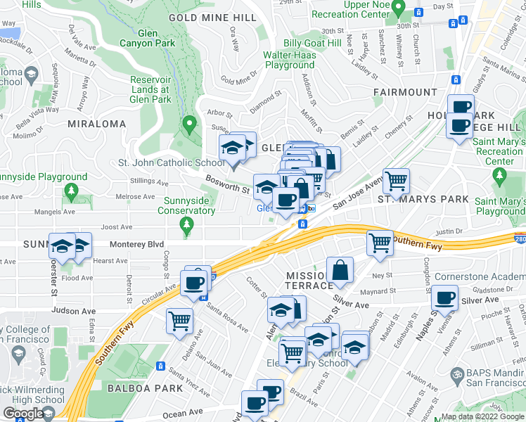 map of restaurants, bars, coffee shops, grocery stores, and more near 36 Joost Avenue in San Francisco