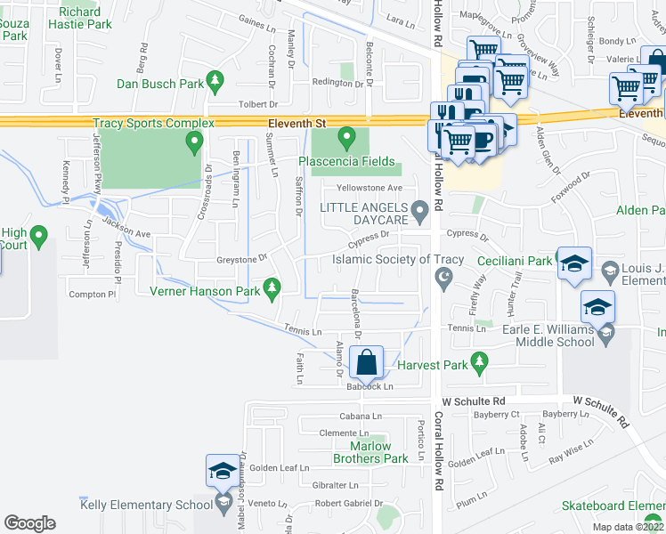 map of restaurants, bars, coffee shops, grocery stores, and more near 499 Terra Nova Court in Tracy
