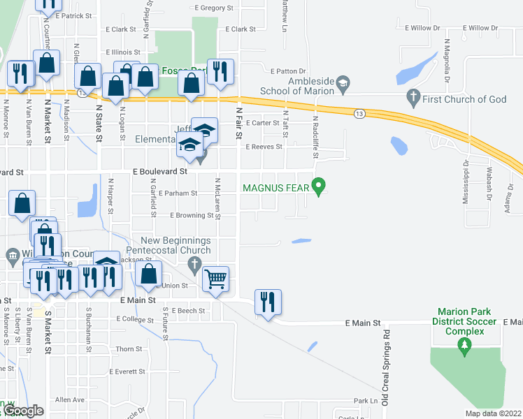 map of restaurants, bars, coffee shops, grocery stores, and more near Grant in Marion