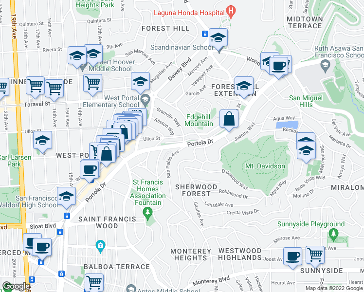 map of restaurants, bars, coffee shops, grocery stores, and more near Portola Drive in San Francisco