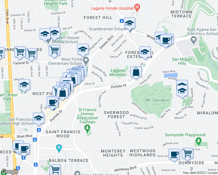map of restaurants, bars, coffee shops, grocery stores, and more near Portola Drive & San Pablo Avenue in San Francisco