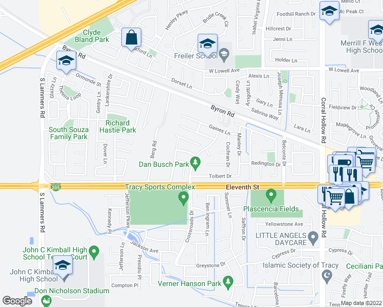 map of restaurants, bars, coffee shops, grocery stores, and more near 2632 Daniel Hansen Way in Tracy
