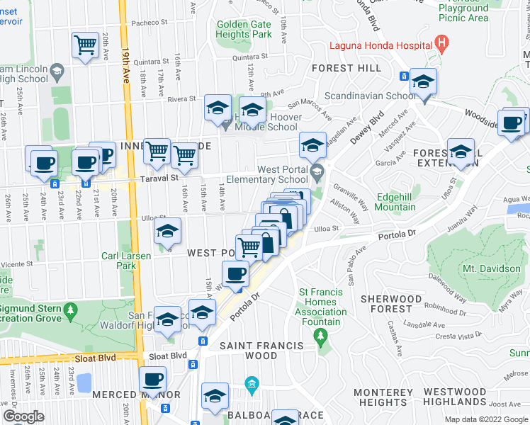 map of restaurants, bars, coffee shops, grocery stores, and more near Ulloa Street & Madrone Avenue in San Francisco