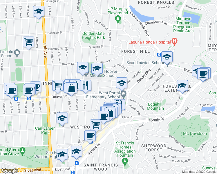 map of restaurants, bars, coffee shops, grocery stores, and more near Magellan Avenue in San Francisco