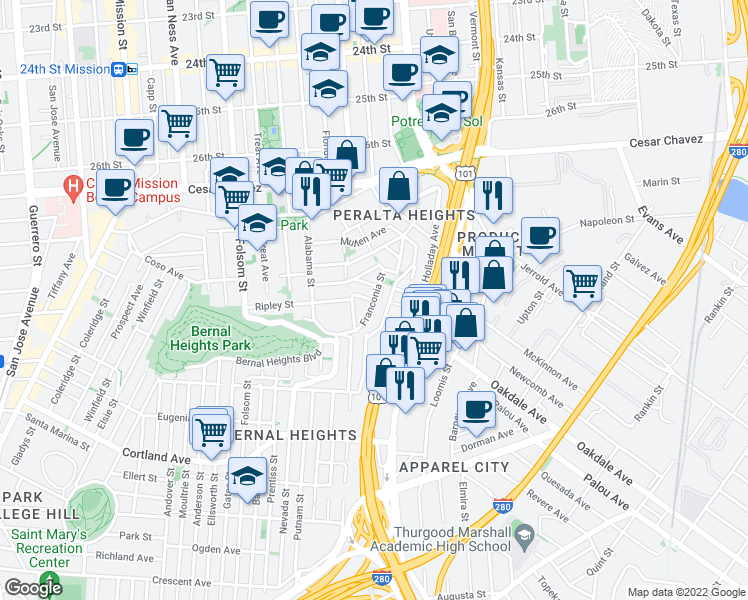 map of restaurants, bars, coffee shops, grocery stores, and more near Franconia St & Samoset St in San Francisco