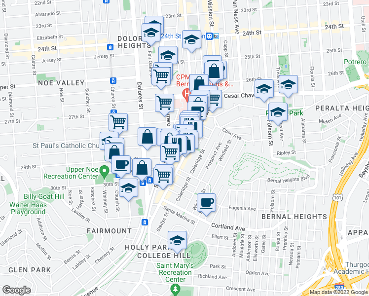 map of restaurants, bars, coffee shops, grocery stores, and more near 3264 Mission Street in San Francisco