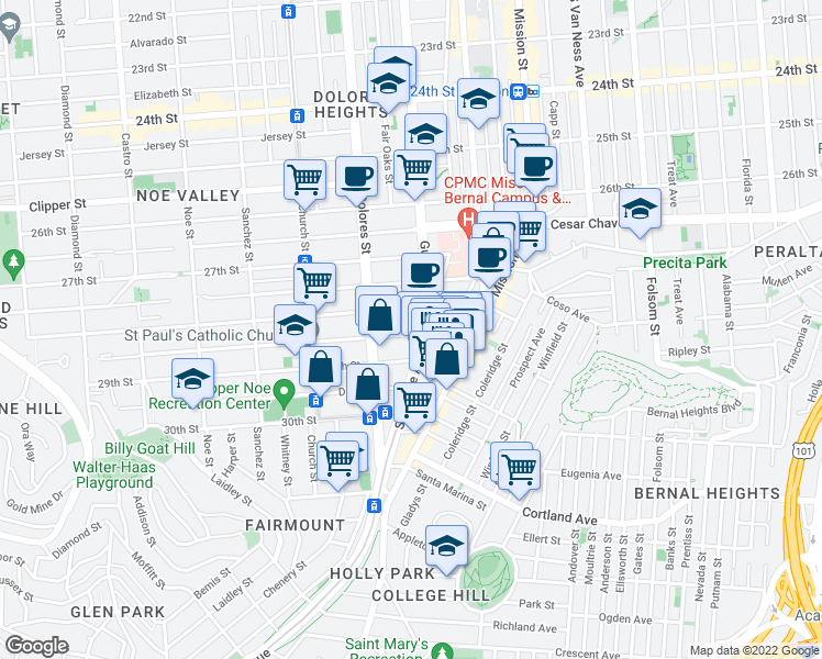 map of restaurants, bars, coffee shops, grocery stores, and more near 26 Valley Street in San Francisco