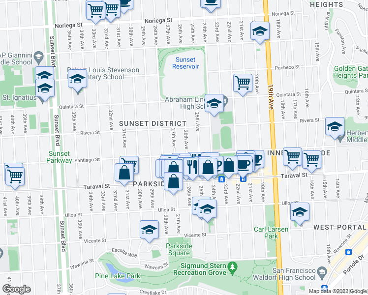 map of restaurants, bars, coffee shops, grocery stores, and more near 2275 26th Avenue in San Francisco