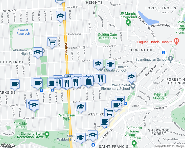 map of restaurants, bars, coffee shops, grocery stores, and more near 15th Ave & Santiago St in San Francisco
