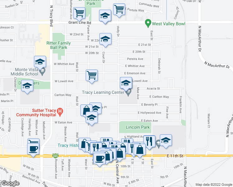 map of restaurants, bars, coffee shops, grocery stores, and more near 5 Carlton Way in Tracy