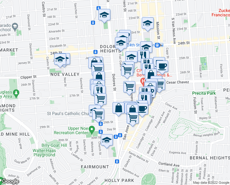 map of restaurants, bars, coffee shops, grocery stores, and more near Dolores St & 27th St in San Francisco