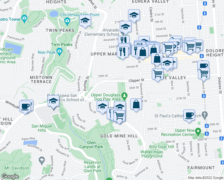 map of restaurants, bars, coffee shops, grocery stores, and more near 184 Carnelian Way in San Francisco
