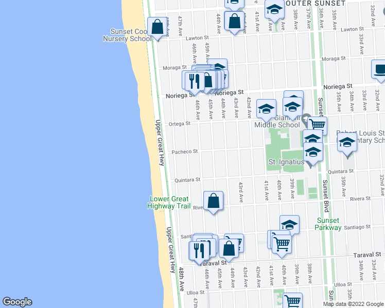 map of restaurants, bars, coffee shops, grocery stores, and more near 4239 Pacheco Street in San Francisco