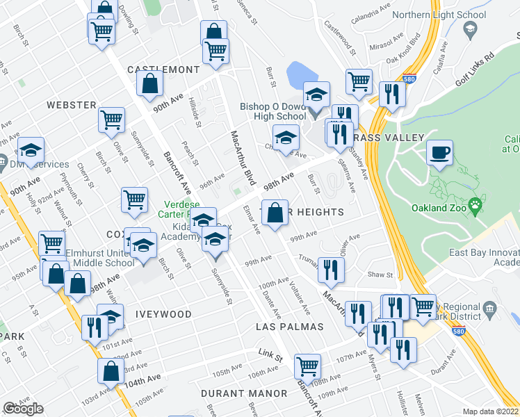 map of restaurants, bars, coffee shops, grocery stores, and more near 9825 MacArthur Boulevard in Oakland