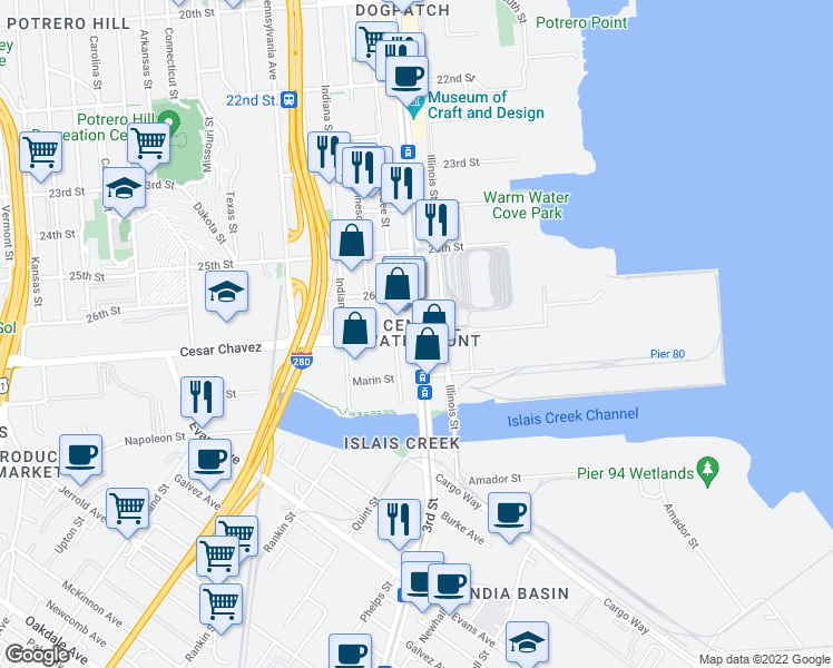 map of restaurants, bars, coffee shops, grocery stores, and more near 3rd Street in San Francisco