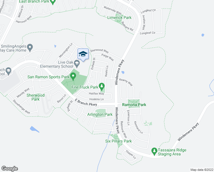 map of restaurants, bars, coffee shops, grocery stores, and more near 2252 Keats Lane in San Ramon