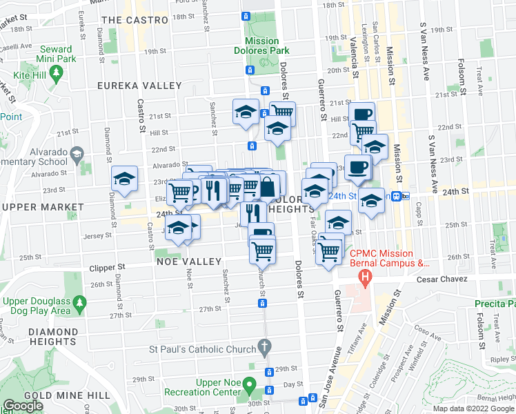 map of restaurants, bars, coffee shops, grocery stores, and more near 24th St & Church St in San Francisco