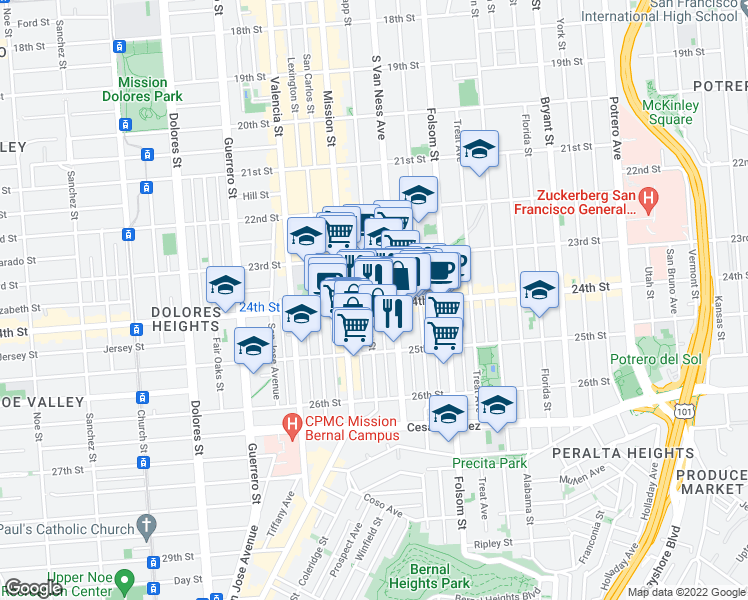 map of restaurants, bars, coffee shops, grocery stores, and more near 899 Capp Street in San Francisco