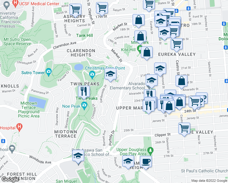 map of restaurants, bars, coffee shops, grocery stores, and more near 830 Corbett Avenue in San Francisco