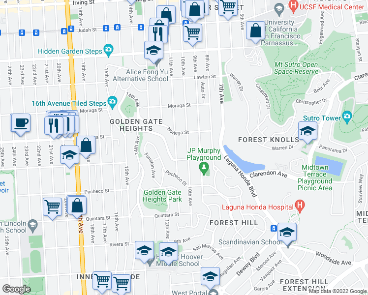 map of restaurants, bars, coffee shops, grocery stores, and more near 1855 10th Avenue in San Francisco