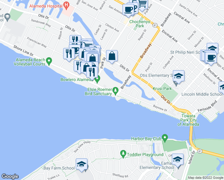 map of restaurants, bars, coffee shops, grocery stores, and more near 2485 Shoreline Drive in Alameda
