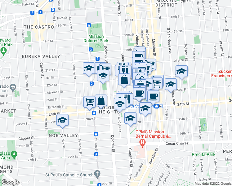 map of restaurants, bars, coffee shops, grocery stores, and more near 3647 23rd Street in San Francisco