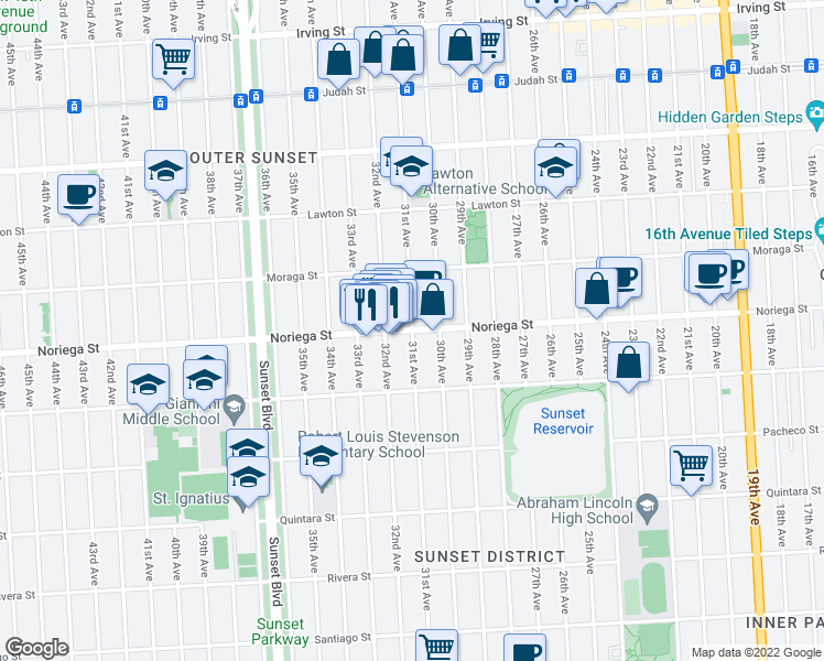 map of restaurants, bars, coffee shops, grocery stores, and more near Noriega Street & 31st Avenue in San Francisco