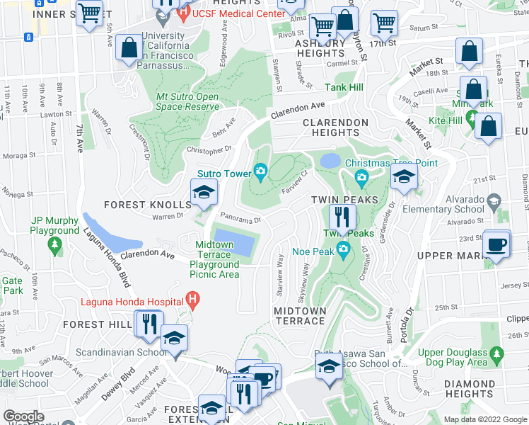 map of restaurants, bars, coffee shops, grocery stores, and more near 690 Panorama Dr in San Francisco