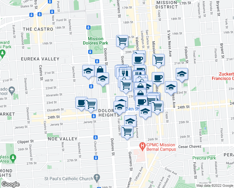 map of restaurants, bars, coffee shops, grocery stores, and more near 181 Fair Oaks St in San Francisco
