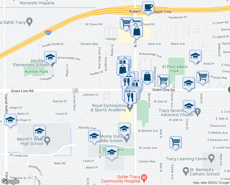 map of restaurants, bars, coffee shops, grocery stores, and more near 950 West Grant Line Road in Tracy