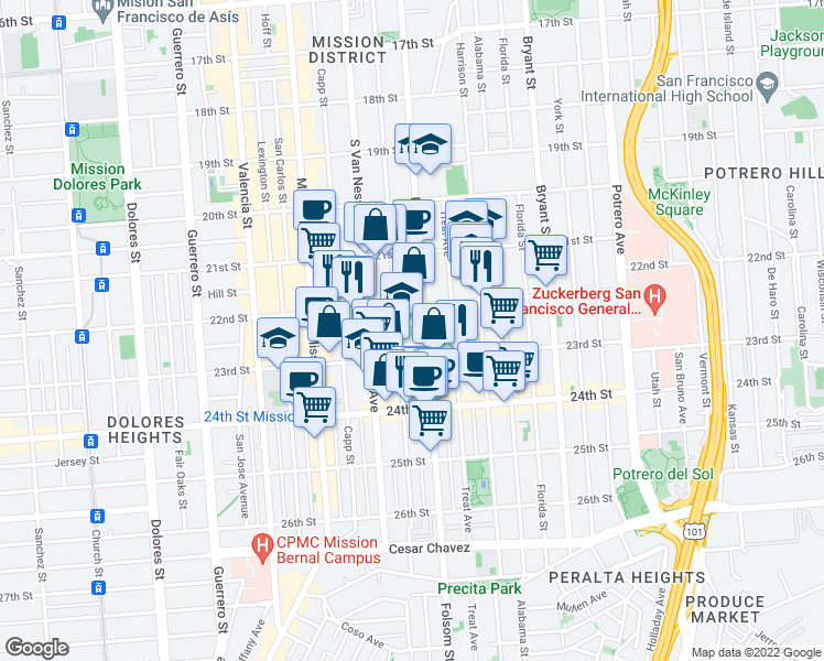 map of restaurants, bars, coffee shops, grocery stores, and more near 825 Shotwell Street in San Francisco