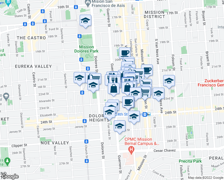 map of restaurants, bars, coffee shops, grocery stores, and more near 3411 22nd Street in San Francisco