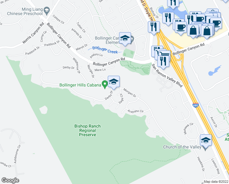 map of restaurants, bars, coffee shops, grocery stores, and more near 30 Seneca Lane in San Ramon