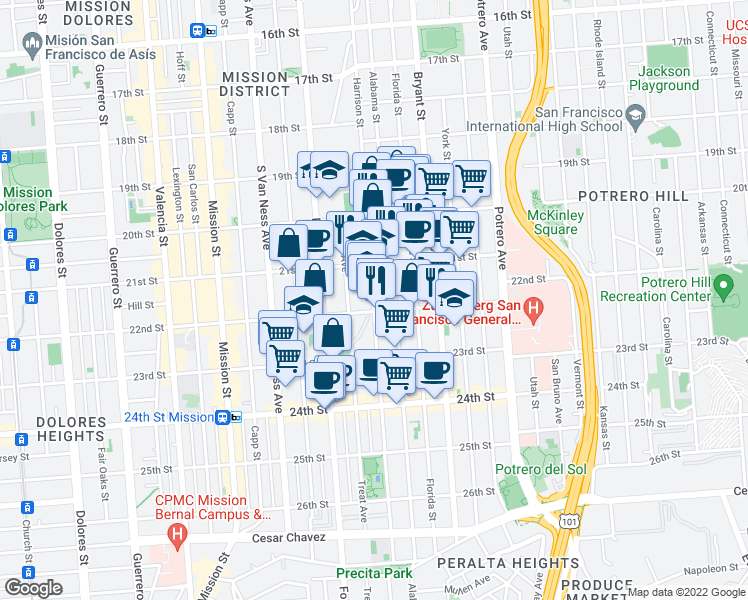 map of restaurants, bars, coffee shops, grocery stores, and more near 2848 22nd Street in San Francisco