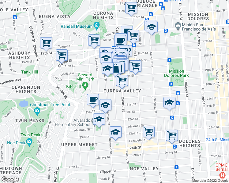 map of restaurants, bars, coffee shops, grocery stores, and more near Collingwood Street in San Francisco