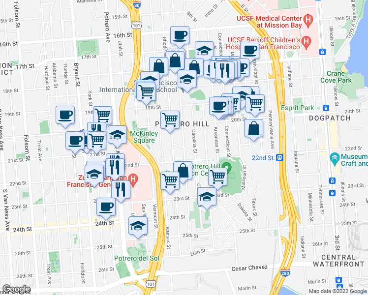map of restaurants, bars, coffee shops, grocery stores, and more near De Haro Street & Southern Heights Avenue in San Francisco