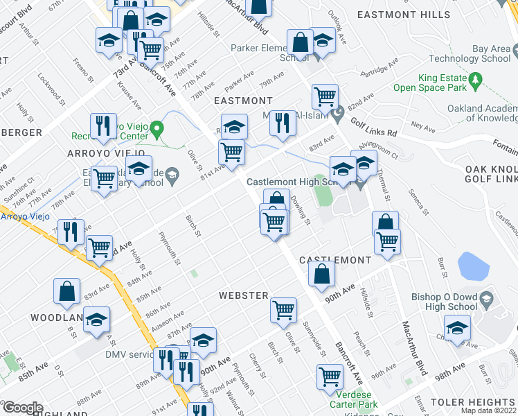 map of restaurants, bars, coffee shops, grocery stores, and more near Bancroft Ave & 84th Ave in Oakland