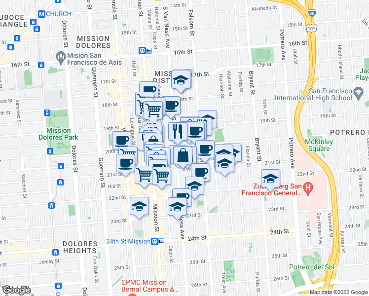 map of restaurants, bars, coffee shops, grocery stores, and more near 3365 20th Street in San Francisco