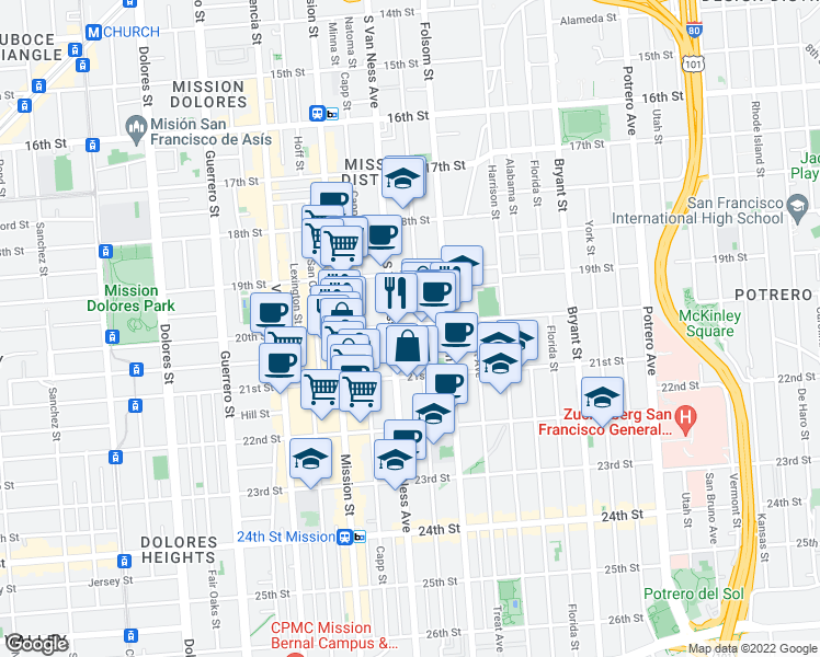 map of restaurants, bars, coffee shops, grocery stores, and more near 3363 20th Street in San Francisco