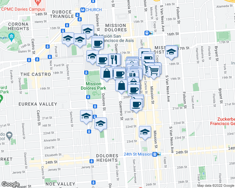map of restaurants, bars, coffee shops, grocery stores, and more near 768 Guerrero Street in San Francisco