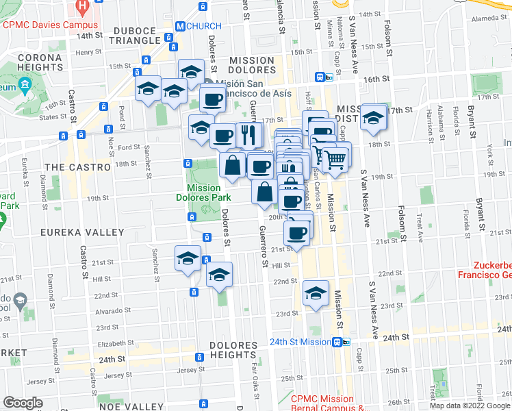 map of restaurants, bars, coffee shops, grocery stores, and more near 750 Guerrero Street in San Francisco