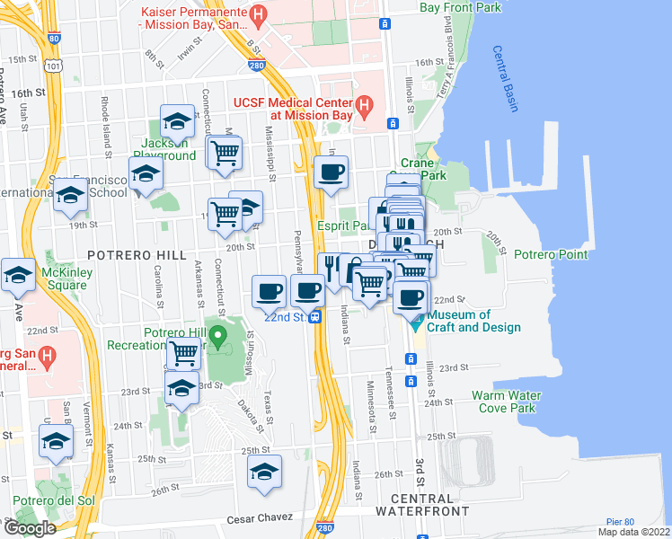 map of restaurants, bars, coffee shops, grocery stores, and more near 800 Indiana Street in San Francisco