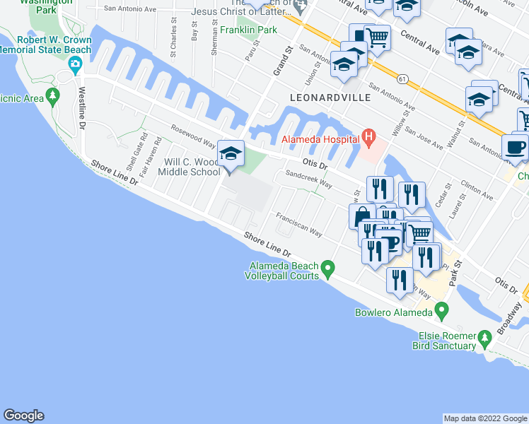 map of restaurants, bars, coffee shops, grocery stores, and more near 333 Kitty Hawk Road in Alameda