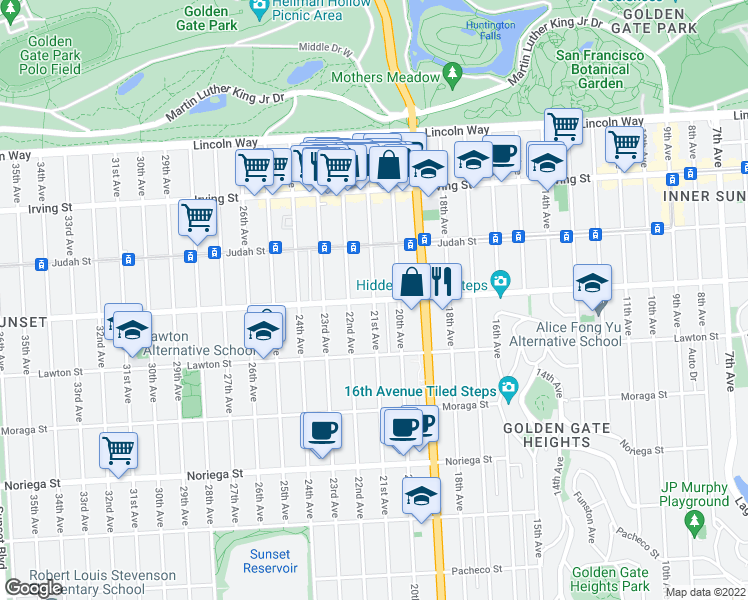 map of restaurants, bars, coffee shops, grocery stores, and more near 21st Avenue in San Francisco
