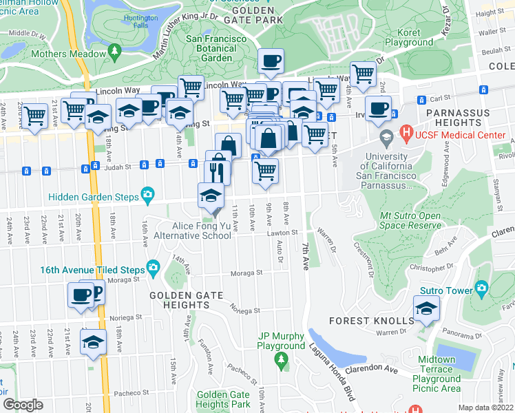 map of restaurants, bars, coffee shops, grocery stores, and more near 1524 10th Avenue in San Francisco