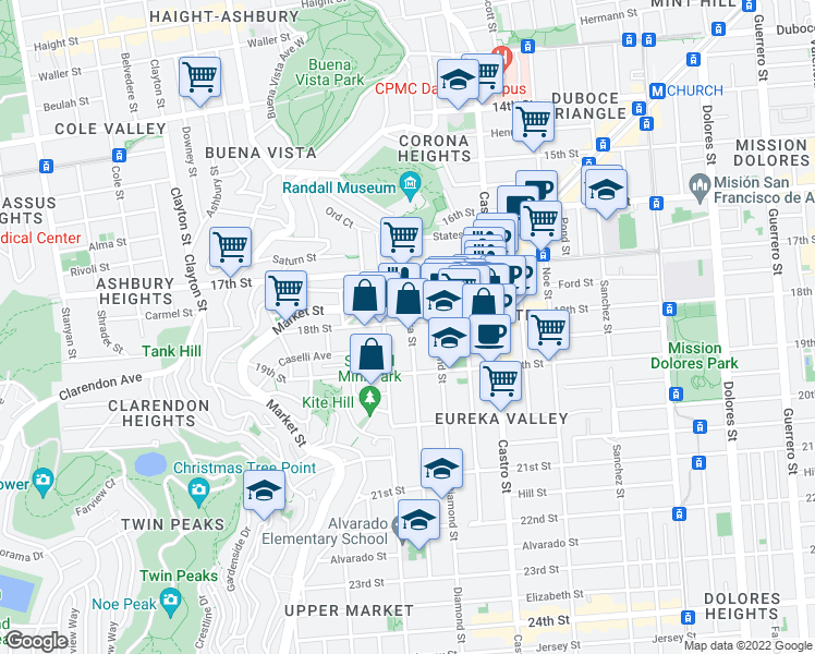 map of restaurants, bars, coffee shops, grocery stores, and more near 4401 18th Street in San Francisco