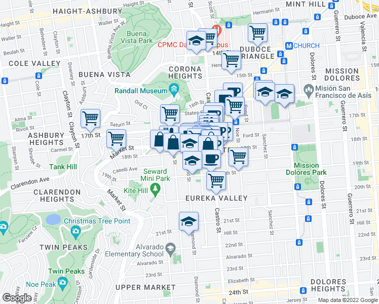 map of restaurants, bars, coffee shops, grocery stores, and more near 4256 18th St in San Francisco